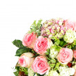 Foto Stock: Bouquet of pink roses over white background