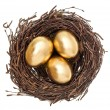 Foto de Stock  : Golden easter eggs in nest isolated on white