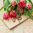 Soft pink tulips, old love letters and cards — Stock Photo #21903133