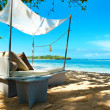 Luxury relax chair on a tropical beach — Stock Photo