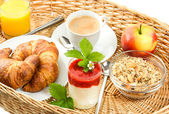 Breakfast with coffee, croissants and orange juice — Stock Photo