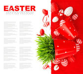 Festive decoration with white red easter eggs — Stock Photo