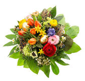 Top view of colorful easter bouquet with golden eggs — Stock Photo