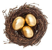 Golden easter eggs in nest isolated on white — Stock Photo