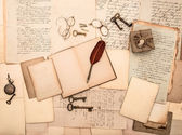 Open book, vintage accessories, old letters and documents — Stock Photo