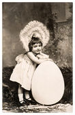 Vintage easter card with funny sweet little girl — Stock Photo