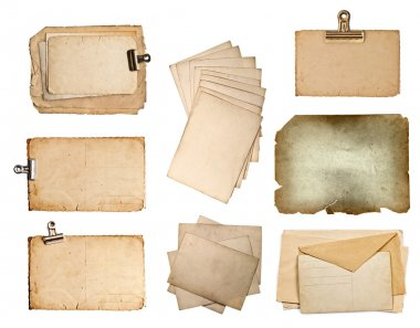 Set of various old paper sheets