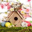 Colorful easter decoration with birdhouse and eggs — Stock Photo #21930621