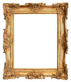 Antiga moldura dourada isolada no branco — Foto Stock