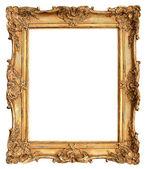 Cadre doré antique isolé sur blanc — Photo