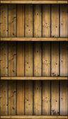 Empty vintage rustic wooden shelves — Stock Photo