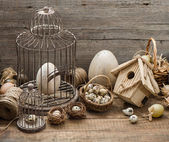 Vintage easter decoration with eggs and birdcage — Stock Photo