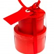 Red gift box with ribbon bow — Stock Photo #22521553