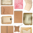Set of various old paper sheets and ring books — Stock Photo #22521747