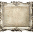 Old silver frame with empty grunge canvas — Stock Photo #22527989
