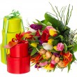 Bouquet of fresh multicolored tulips with gift box - Stock Photo