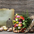 Nostalgic easter still life home interior - Stock Photo