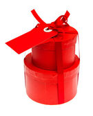 Red gift box with ribbon bow — Stock Photo