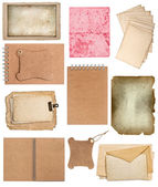 Set of various old paper sheets and ring books — Stock Photo