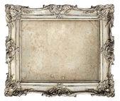 Starý stříbrný rám s prázdnou grunge plátnem — Stock fotografie