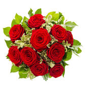 Bouquet of red rose flower isolated on white — Stock Photo