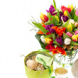 Bouquet of fresh multicolored tulips with easter eggs — Stock Photo