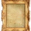 Old golden frame with empty grunge canvas - Foto de Stock