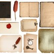 Vintage book pages, cards, pieces isolated on white — Stock Photo