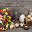 Vintage easter decoration with eggs and tulip flowers — Stock Photo #22547129