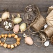 Vintage decoration with eggs and flower bulbs — Stock Photo #22547149