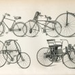 Antique bicycles types from the beginning of 20th century - Stockfoto