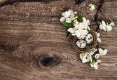Blommor och påsk boet med ägg på trä bakgrund — Stockfoto