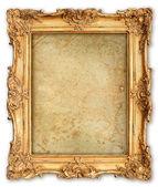 Starý zlatý rám s prázdnou grunge plátnem — Stock fotografie