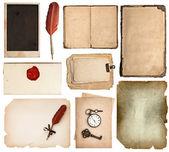 Sztuka książki strony, karty, kawałki na białym tle — Zdjęcie stockowe