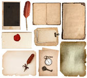 Vintage book pages, cards, pieces isolated on white — Zdjęcie stockowe