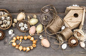 Vintage decoration with eggs and flower bulbs — Fotografia Stock