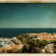 Panoramic view of Monaco. vintage style - Stock Photo