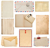 Set of old paper sheets, book, envelope, card — Stok fotoğraf