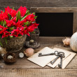 Vintage easter decoration with eggs and red flowers — Stockfoto
