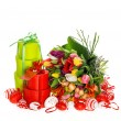 Foto Stock: Fresh tulips with easter eggs and gift box