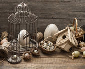 Vintage easter decoration with eggs, birdhouse and birdcage — Стоковое фото