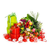 Fresh tulips with easter eggs and gift box — Stock Photo