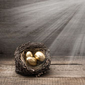 Golden easter eggs with light beams — Stock Photo