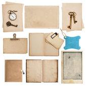 Saat ve anahtarı ile antika aşınmış kağıt yaprak — Stok fotoğraf