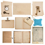 Antique grungy paper sheets with clock and key — Stock Photo