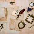 Stock Photo: Picture frames, keys, flowers, old letters