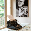 Portrait and original typewriter in Herman Hesse museum - Stock Photo