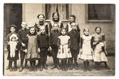 Antique portrait of group of children — Stock Photo