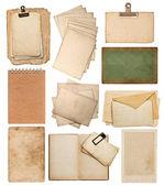 çeşitli eski kağıt sayfalarının bir dizi — Stok fotoğraf