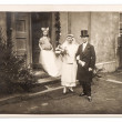 Just married couple. vintage wedding photo — Stock Photo